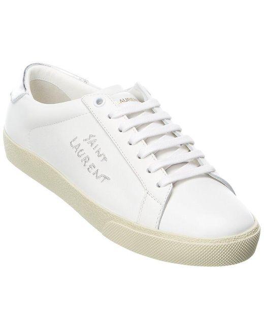 Saint Laurent White Sl/06 Signature Leather Sneaker