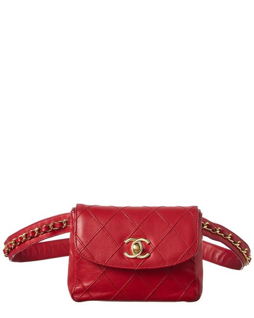 878c5c3ee32707 Chanel Red Quilted Lambskin Leather Belt Bag in Red - Lyst