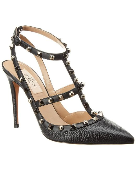 d7271a723a87 Valentino - Black Rockstud 100 Leather Ankle Strap Pump - Lyst ...