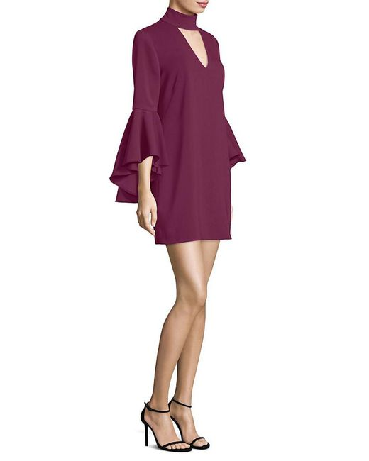 MILLY - Purple Andrea Bell-sleeve Dress - Lyst