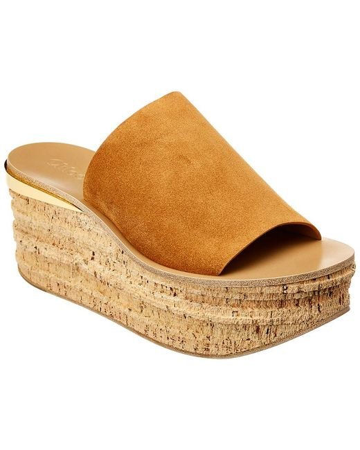 37009ccf2e3b Lyst - Chloé Camille Wedge Mules in Brown - Save 45%