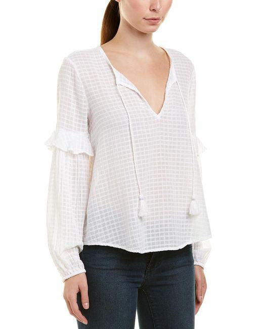 Splendid - White Blouson Sleeve Blouse - Lyst
