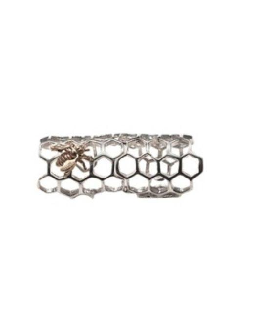 Bernard Delettrez | Metallic Silver Articulated Honey Comb Ring With Bronze Bee | Lyst