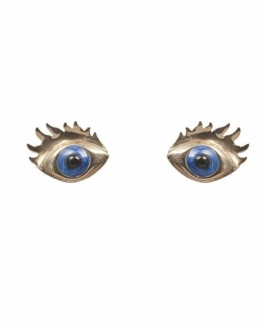 Bernard Delettrez | Bronze Earrings With Blue Enamel Eyes | Lyst