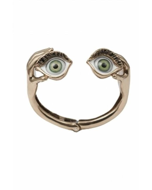 Bernard Delettrez | Metallic Bronze Cuff Bracelet With Green Eyes | Lyst