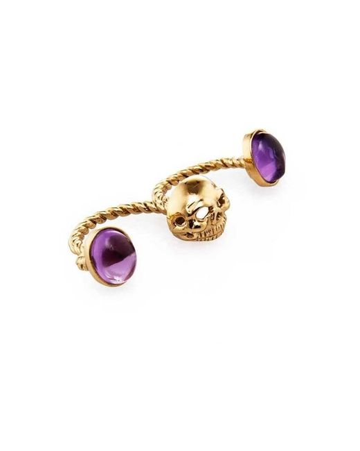 Bernard Delettrez | Metallic Skull Double Finger Ring With Amethysts | Lyst