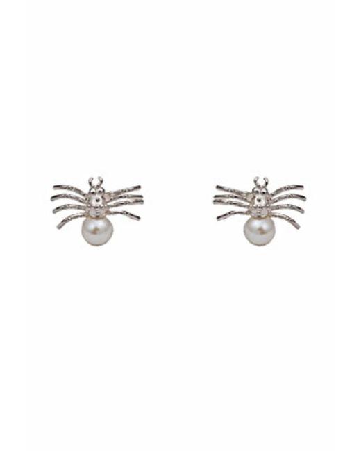 Bernard Delettrez | Metallic Silver Spider With Pearl Earrings | Lyst