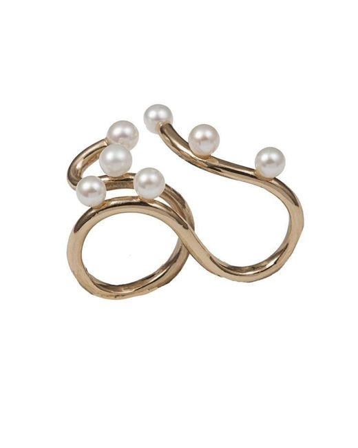 Bernard Delettrez | Metallic Bronze Two Finger Ring With 7 Pearls | Lyst