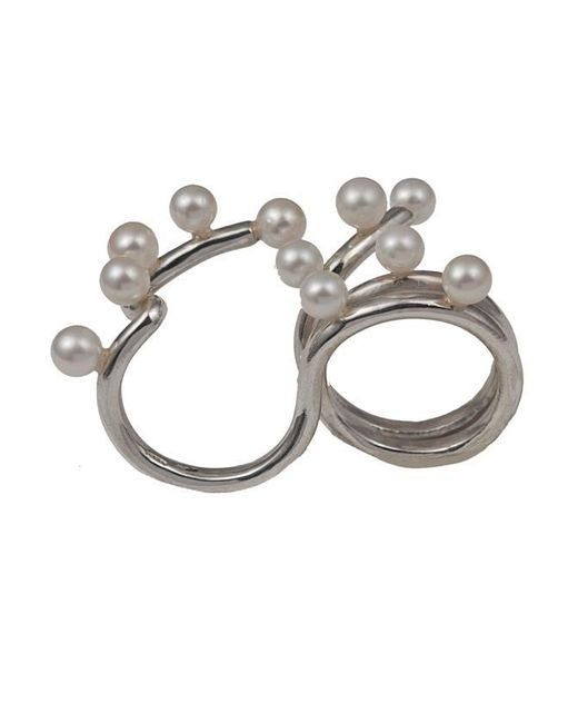 Bernard Delettrez | Metallic Silver Two Finger Ring With 11 Pearls | Lyst