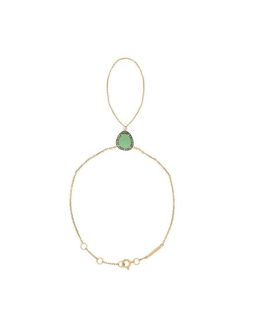 Christina Debs   Green Hard Candy Chrysoprase Brown Diamond Bracelet With Ring   Lyst