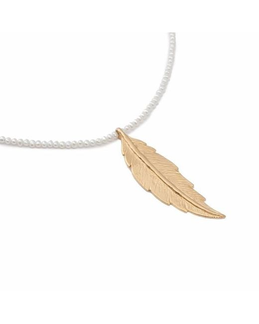 Leivan Kash | White Feather Pearl Necklace | Lyst