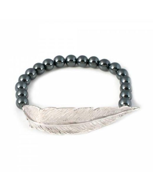 Leivan Kash - Metallic Feather Hematite Bracelet - Lyst