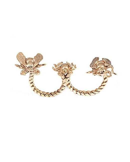 Bernard Delettrez | Metallic Critters Double Finger Bronze Ring | Lyst