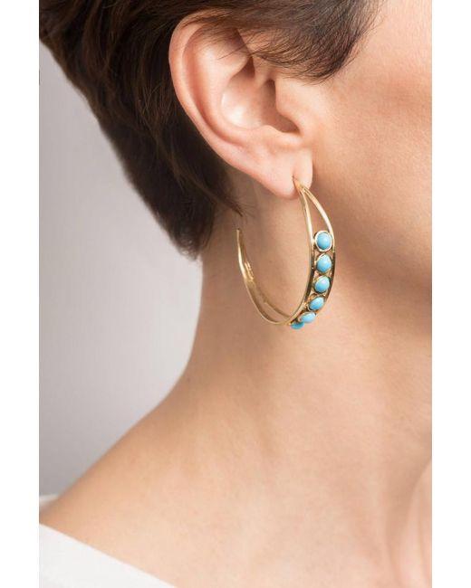 Hissia | Multicolor Chloe Hoop Earrings In Turquoise | Lyst