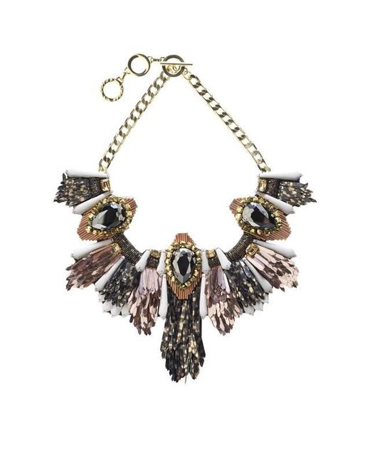 Forest Of Chintz - Black Disco Jungle Pink Bronze Fringe Necklace - Lyst