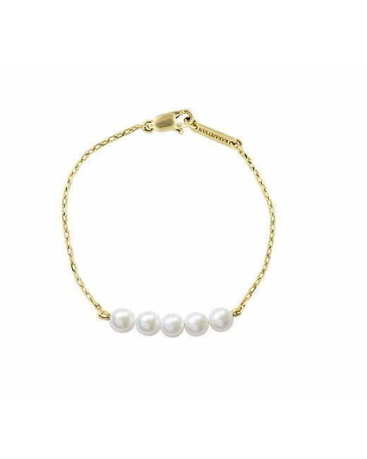 Karapetyan - Metallic Marie Yellow Gold And 5 Pearl Bracelet - Lyst