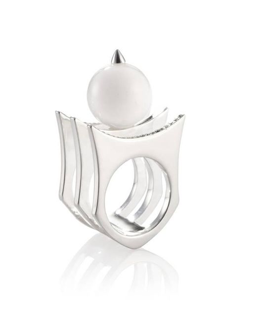 Yael Salomon | Metallic Greta 01 Silver And Pearl Ring | Lyst