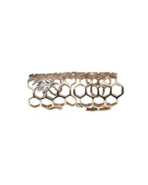 Bernard Delettrez - Metallic Bronze Articulated Honey Comb Ring With Silver Bee - Lyst