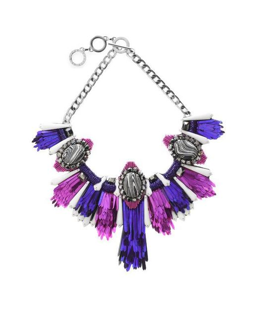 Forest Of Chintz | Multicolor Disco Jungle Pink Purple Fringe Necklace | Lyst