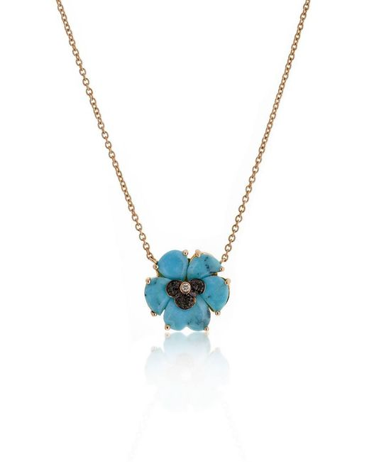 Christina Debs - Blue Wonderland Turquoise 18k Gold Pansy Pendant Necklace - Lyst