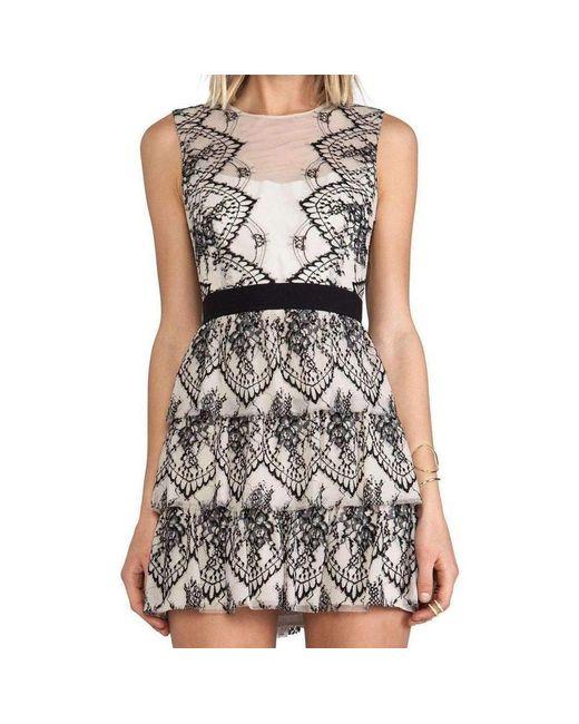 BCBGMAXAZRIA - Black Collier Sleeveless Scalloped Lace Dress - Lyst
