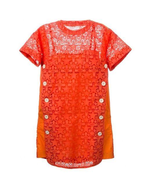 Sacai Orange Lace Trim 'sangallo' Dress