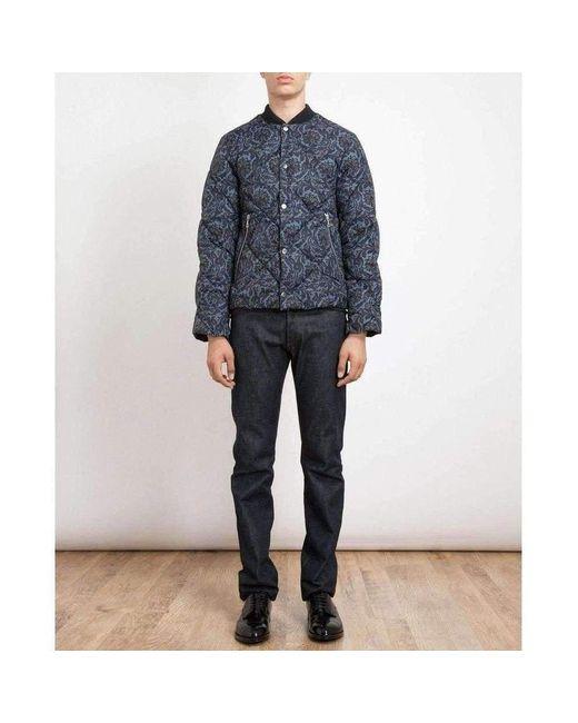 Dries Van Noten Runway Blue Paisley Quilted Jacket for men