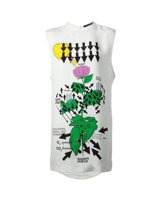 Christopher Kane White Silk Floral Diagram Print Dress