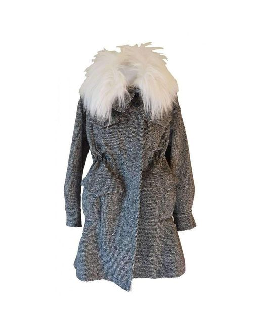 Sacai - Luck Black & White Safari Patch Pocket Oversized Wool Coat - Lyst