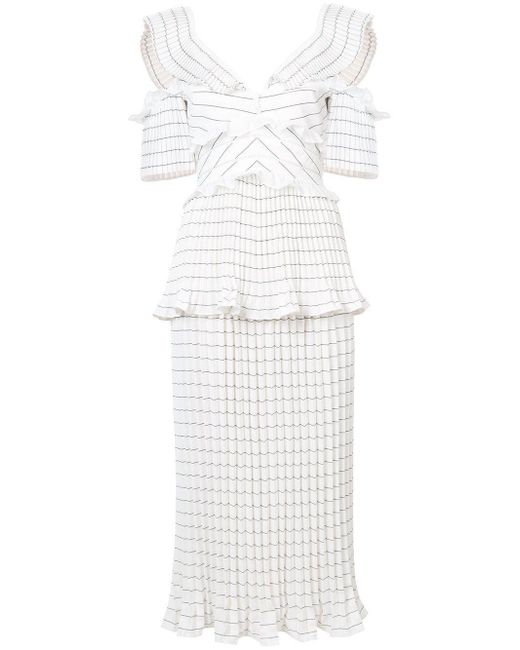 0b722b9aef4 Lyst - Self-Portrait Monochrome Stripe Dress in White - Save 15%