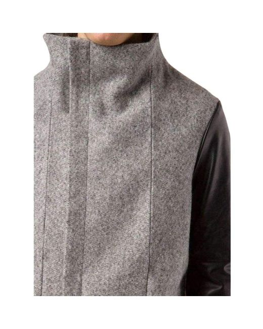 Boris Bidjan Saberi Gray Wool Coat With Leather Sleeves for men