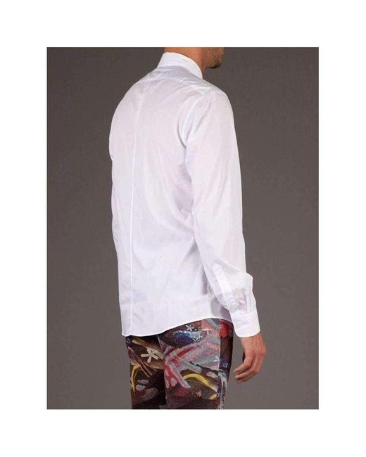 Dries Van Noten White Cotton Carrick Funnel Neck Shirt for men