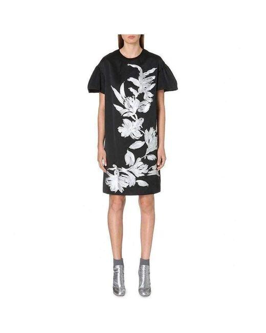 Dries Van Noten Black Runway Deolas Floral Motif Crepe Dress