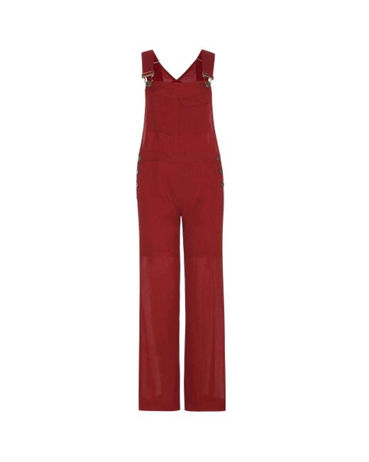 Chloé - Red Fine Sheer Crepe Jumpsuit - Lyst