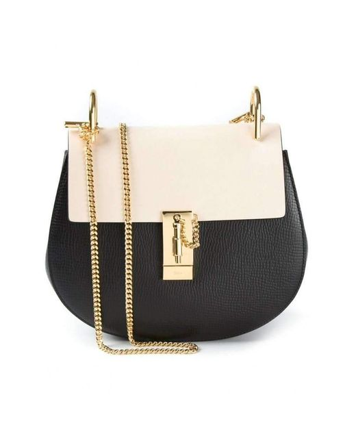 Women's Drew Black & White Small Grained Nappa Leather Bag by Chloé