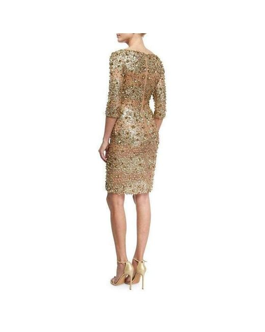 Silk Beaded Gold Ed Tail Dress
