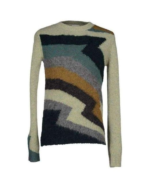 Dries Van Noten Green Zigzag Intarsia Magnet Wool Sweater for men