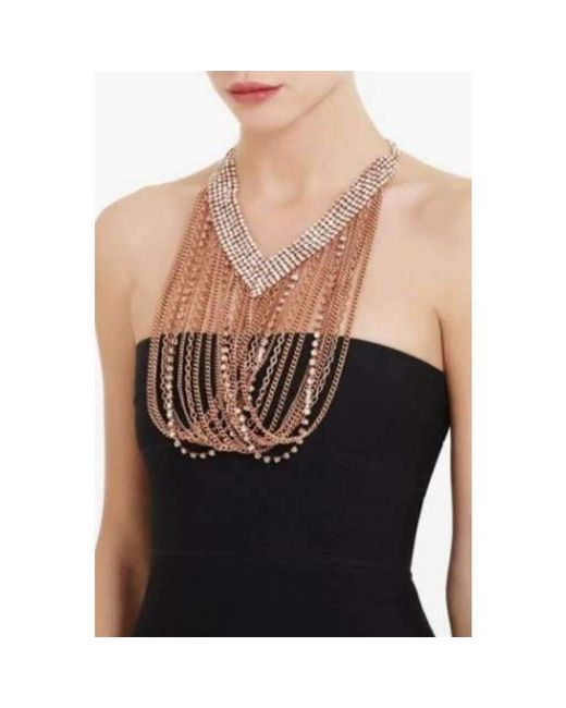 BCBGMAXAZRIA - Black Bcbg Maxazria Draped Chain Rhinestone Necklace - Lyst
