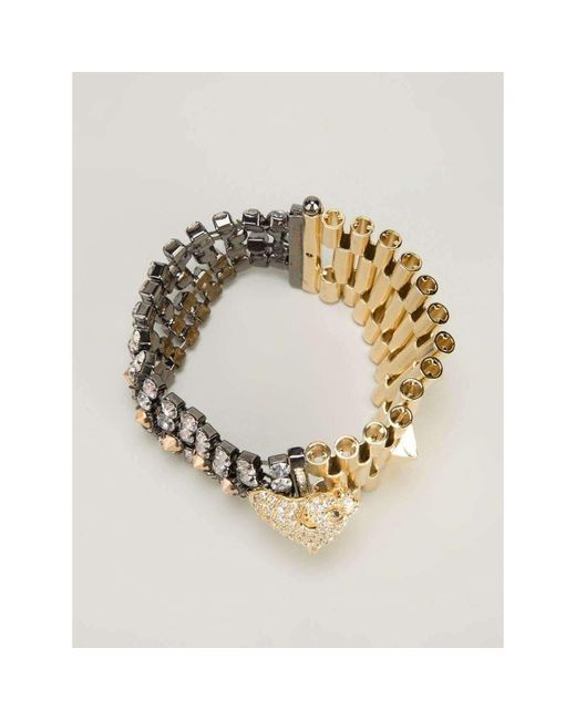 Iosselliani - Metallic Chettah Head Dirty Crystal Bracelet - Lyst