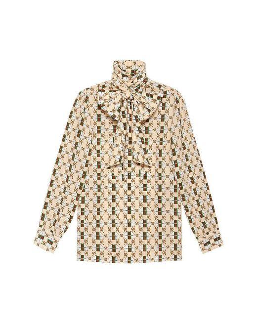 Gucci Multicolor Print Silk Shirt With Web GG Print