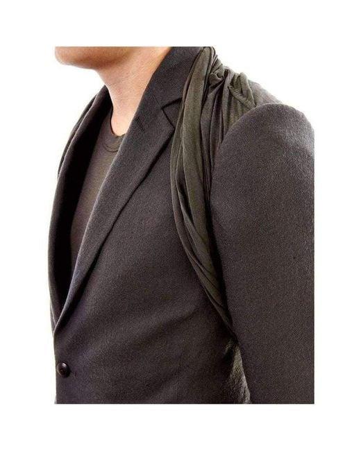 Rick Owens Gray Wool Charcoal Hustler T-shirt Panel Jacket for men