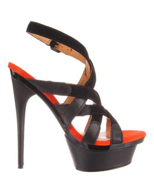 L.A.M.B. - Elegant 'imoden' Black High Heel Caged Sandals - Lyst