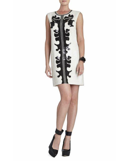 BCBGMAXAZRIA Multicolor Geri Sequin Motif Shift Dress