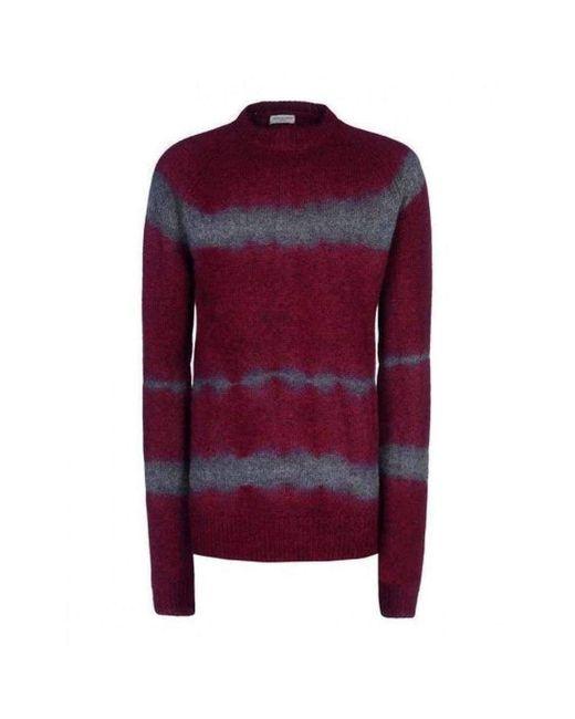 Dries Van Noten Red Runway Miles 7740 Burgundy Sweater Jumper for men