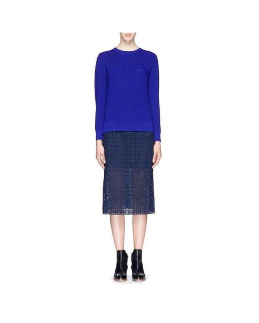 Sacai Blue Luck Detachable Collar Broderie Anglaise Sweater Combo Dress