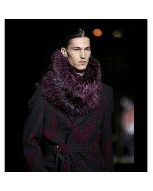 Dries Van Noten Purple Zigzag Wool Coat for men