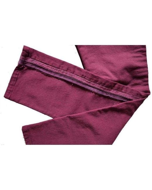 Balmain Purple Burgundy Embroidered Trimming Slim Stretch Jeans for men