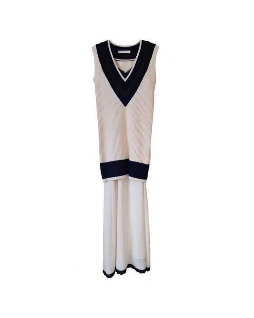 Sacai Multicolor Luck Two Piece V-neck Sweater Dress