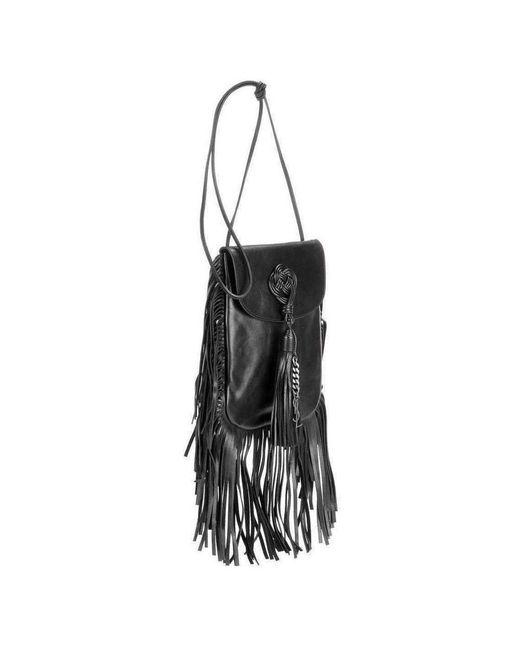 42e39840f867 ... Saint Laurent - Black Saint Laurent Anita Fringe Leather Shoulder Bag -  Lyst ...