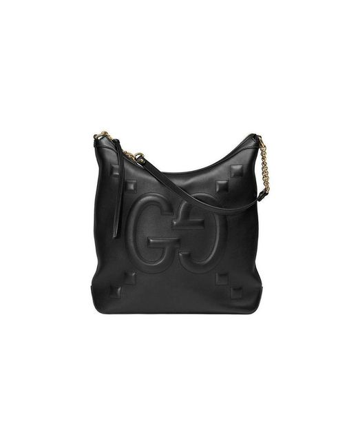 da4eb4129fb081 Gucci Leather Tote With Embossed GG In Black in Black - Lyst
